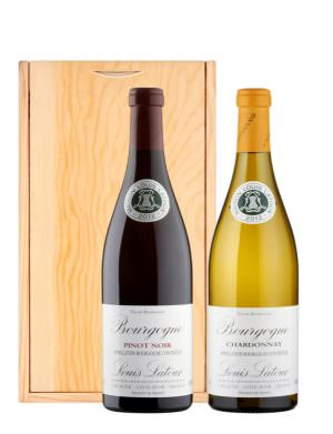 Louis Latour 75cl Twin Wine Set in Wooden Case